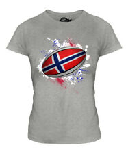 NORWAY RUGBY BALL SPLATTER LADIES T-SHIRT TEE TOP GIFT WORLD CUP SPORT