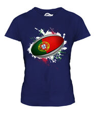 PORTUGAL RUGBY BALL SPLATTER LADIES T-SHIRT TEE TOP GIFT WORLD CUP SPORT