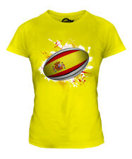 SPAIN RUGBY BALL SPLATTER LADIES T-SHIRT TEE TOP GIFT WORLD CUP SPORT