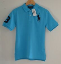 RALPH LAUREN BIG PONY blue cotton polo shirt top tshirt Sizes: Age 6 to 9 years