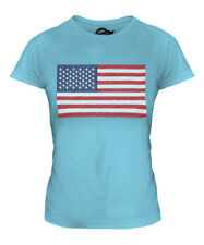 USA SCRIBBLE FLAG LADIES T-SHIRT TEE TOP GIFT UNITED STATES AMERICA