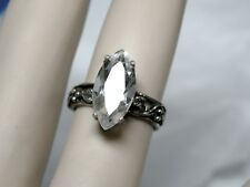 NATURAL 3ct Crystal Quartz Antique 925 Sterling Silver Ring Size 5.5 Size 7.5