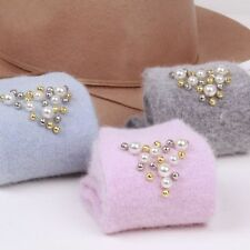 Autumn Winter Pearl Ladies Fashion Solid Pink Casual Wool Standard Thick Socks