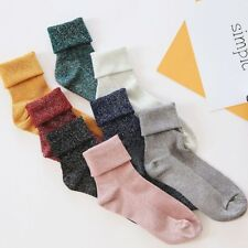 Autumn Winter Warm Cotton Solid Shiny Woman Fashion Thick Warm Line Casual Socks
