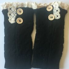 Leg Warmers Boot Cuff Ankle Knee Wool Buttons Lace black / brown / grey - Pair