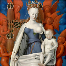 Poster, stampa su tela o vetro acrilico Virgin and Child Surro... - J. Fouquet