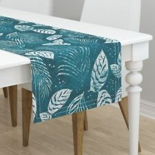 Table Runner Tropical Leaves Palm Fronds Botanical Modern Aloha Cotton Sateen