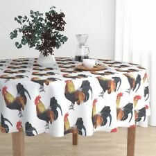 Round Tablecloth Rooster Chook Chicken Poultry Fowl Drawing Jumbo Cotton Sateen