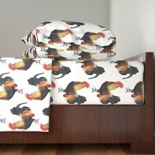 Rooster Chook Chicken Poultry Fowl 100% Cotton Sateen Sheet Set by Roostery