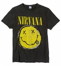 Official Charcoal Nirvana Distressed Smiley T-Shirt from Amplified