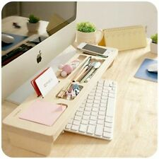 Wooden Desk Organizer Office Stationery Racks Desktop Pen Accessories Box Holder