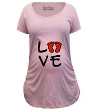 Pregnancy Shirts Maternity T shirts Tops Tunic Clothes Love Baby Footprints