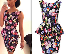 TOPSHOP BEAUTIFUL FLORAL PRINT PEPLUM NEOPRENE FIGURE HUGGING PARTY DRESS  NEW