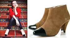 TOPSHOP SMART GENUINE SUEDE LEATHER CONTRAST CAP TOE GOLD ZIP ANKLE BOOTS NEW