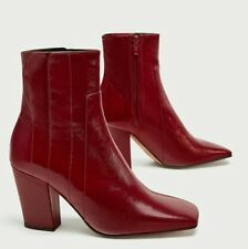 Zara Red Leather High Heel Ankle Boots Shoes Size UK 4, UK 5