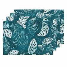 Cloth Placemats Tropical Leaves Palm Fronds Botanical Modern Aloha Set of 4