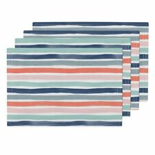 Cloth Placemats Geo Watercolor Stripes Pink Coral Navy Blue Multicolor Set of 4