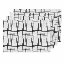 Cloth Placemats Stripes Checkered Black And White Geometric Trend Set of 4