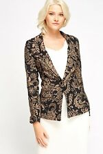 Womens New Blazer Black Beige Gold One Single Button Fitted Floral Jacket 12 14
