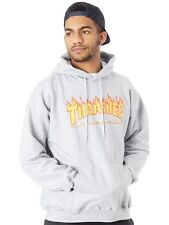 Thrasher Grey Flame Logo Hoody