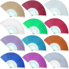 Retro Chinese Style Hand Held Fan Bamboo Silk Folding Fan Party Wedding Decor L