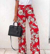 Zara Red Floral Printed Trousers Size M UK 10