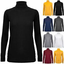 Womens Ladies Ribbed High Turtle Polo Neck Stretchy Long Sleeves Top Tee Shirt