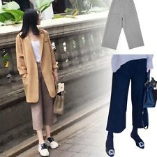 Pants Wide Leg Casual Loose Trousers Women High Waist Cropped Culottes Vogue