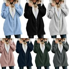Womens Hooded Coats Loose Cardigan Coat Fluffy Hoodie Top Sweaters Plus Size