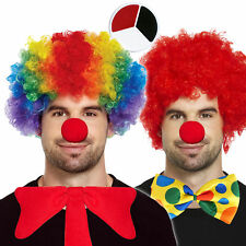 CLOWN Afro Wig + Red Nose + Face Paint 3pc Set Bow Tie Rainbow Red Fancy Dress