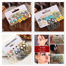 Earrings Set Mixed for Women Bohemian Gold Color Leaf Flower Stone Statement