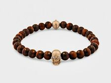 Skull Bracelet in 18KT Gold with Diamond Eyes and Red Tiger Eye