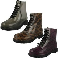 Ladies Spot On Chunky Heel 'Transparent Boots'