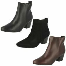 Ladies Spot On Plain Heeled Ankle Boots