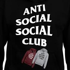 Anti Social Hoodie Men Kids Funny Gift Club Slogans SweatShirt Printed Novelty