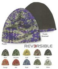 REVERSIBLE Digital Mesh Camo FLEECE LINED Beanie Stocking Hat Cap