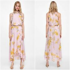 Zara Light Pink Floral Print Sarong Skirt & Top Co-Ord Set Size M