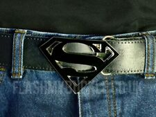Black Superman Belt Buckle With Leather Belt - Fitted Ready to Wear-High Quality