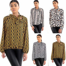 Women Ladies Leopard Snake Fendi Print Pussy Bow High Neck Party Blouse Top New