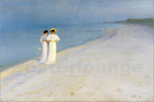 Poster, stampa su tela o vetro acrilico Summer Evening on the S... - P. Kroyer