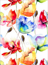 Póster, lienzo o cuadro en metacrilato Poppies and tulips in watercolor