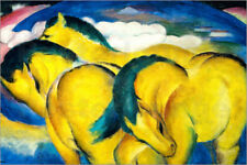 Poster / Toile / Tableau verre acrylique The little yellow horses - Franz Marc