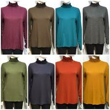 RUFFLE POLO NECK TURTLE NECK TOP WOMENS JERSEY CRINKLE LOOK LONG TOPS 8-14 NEW L