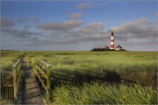 Poster, stampa su tela o vetro acrilico Lighthouse in the salt marshes on ...