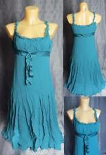 Retro TED BAKER Green SILK chiffon dress Ted size 3 UK 12 EU 40
