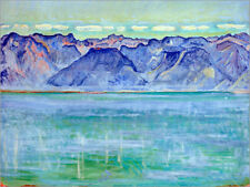 Poster / Toile / Tableau verre acrylique Lake Geneva with Savoy... - F. Hodler