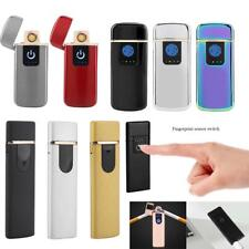 USB Rechargeable Fingerprint Touch Electric Metal Lighter Windproof Flameless