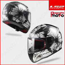 CASCO INTEGRALE LS2 RAPID FF353 DONNA LADY POPPIES NERO BIANCO BLACK WHITE