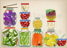 Poster / Toile / Tableau verre acrylique Bottled pickles and... - E. Sevenstar