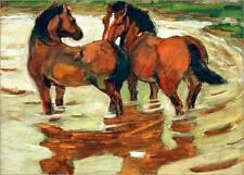 Póster, lienzo o cuadro en metacrilato Two horses in the alluvial - Franz Marc